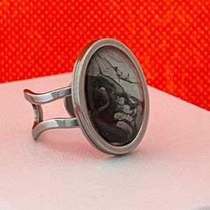 One of a kind paint pour stainless steel ring